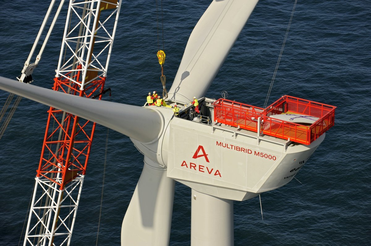 Installation of  AREVA 5 MW Offshore windenergie turbines in the offshore wind farm alpha ventus
