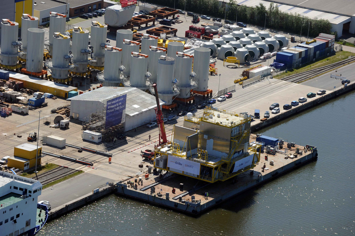 Offshore Logistics: loading of a transformer station for an offshore wind farm